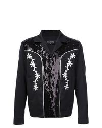 schwarze Shirtjacke mit Blumenmuster von DSQUARED2