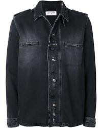 schwarze Shirtjacke mit Destroyed-Effekten von Saint Laurent