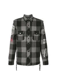 schwarze Shirtjacke mit Schottenmuster