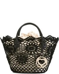 schwarze Shopper Tasche aus Häkel