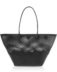 schwarze Shopper Tasche aus Leder mit Ausschnitten