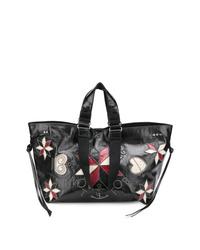 schwarze Shopper Tasche aus Leder mit Blumenmuster von Isabel Marant