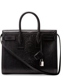 schwarze Shopper Tasche aus Leder mit Schlangenmuster