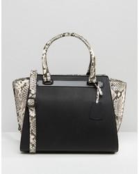 schwarze Shopper Tasche aus Leder mit Schlangenmuster von Aldo