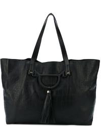 schwarze Shopper Tasche aus Leder mit Schlangenmuster von Borbonese