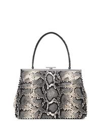 schwarze Shopper Tasche aus Leder mit Schlangenmuster von Loeffler Randall
