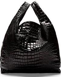 schwarze Shopper Tasche aus Leder mit Schlangenmuster von Maison Martin Margiela