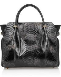schwarze Shopper Tasche aus Leder mit Schlangenmuster von Nina Ricci
