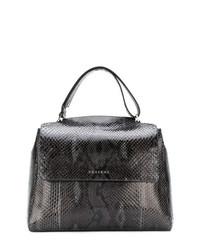 schwarze Shopper Tasche aus Leder mit Schlangenmuster von Orciani