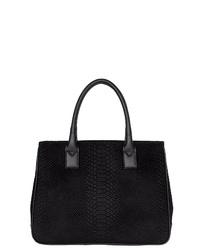 schwarze Shopper Tasche aus Leder mit Schlangenmuster von POON Switzerland