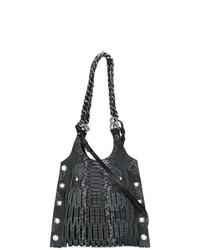 schwarze Shopper Tasche aus Leder mit Schlangenmuster von Sonia Rykiel