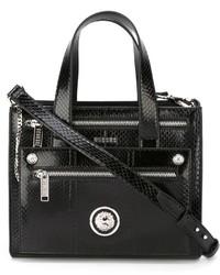 schwarze Shopper Tasche aus Leder mit Schlangenmuster von Versus