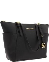 schwarze Shopper Tasche aus Leder