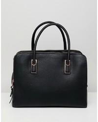 schwarze Shopper Tasche aus Leder von ASOS DESIGN