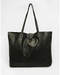 Schwarze Shopper Tasche aus Leder von Asos