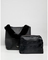 schwarze Shopper Tasche aus Leder von Dune