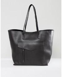 schwarze Shopper Tasche aus Leder von New Look