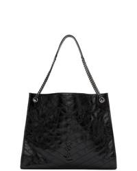 schwarze Shopper Tasche aus Leder von Saint Laurent
