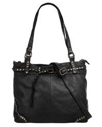 schwarze Shopper Tasche aus Leder von SAMANTHA LOOK