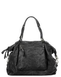 schwarze Shopper Tasche aus Leder von X-ZONE
