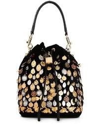 schwarze Shopper Tasche aus Samt