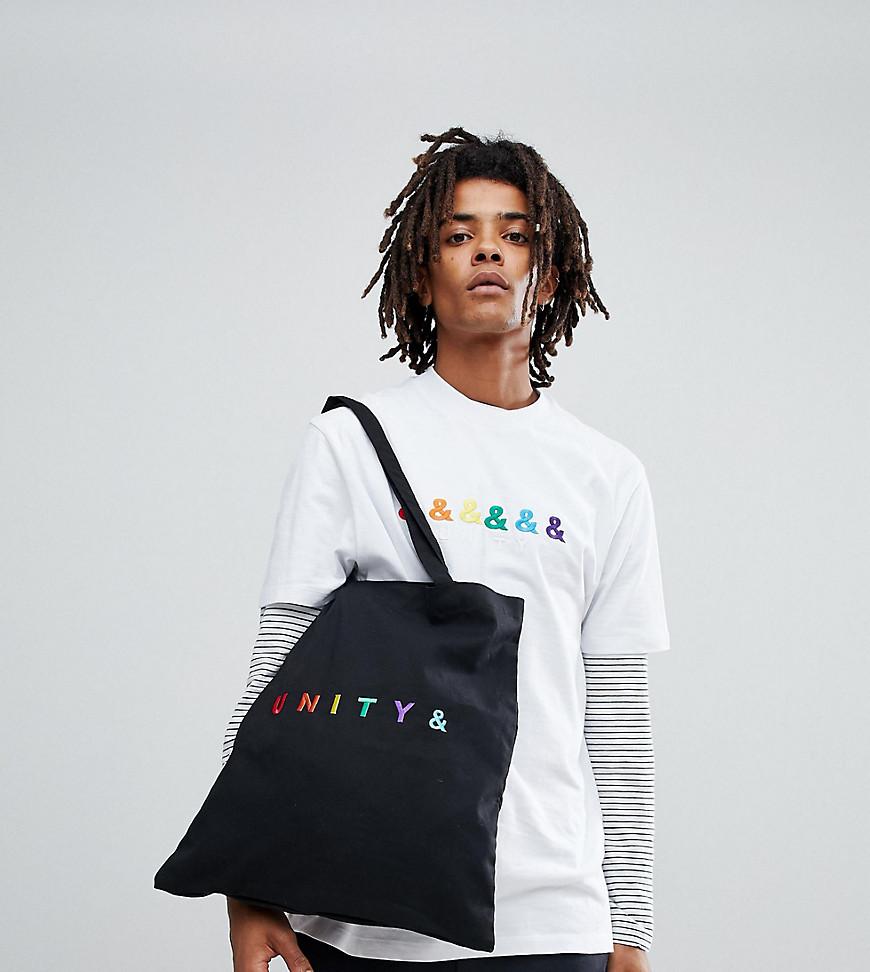 schwarze Shopper Tasche aus Segeltuch von ASOS DESIGN