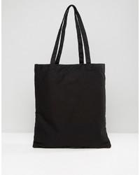 schwarze Shopper Tasche aus Segeltuch von Asos