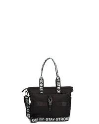schwarze Shopper Tasche aus Segeltuch von George Gina & Lucy