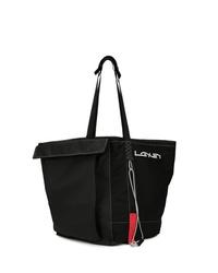 schwarze Shopper Tasche aus Segeltuch von Lanvin