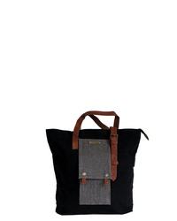 schwarze Shopper Tasche aus Segeltuch von Margelisch