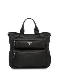 schwarze Shopper Tasche aus Segeltuch von Prada