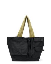 schwarze Shopper Tasche aus Segeltuch von Raf Simons