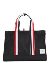 schwarze Shopper Tasche aus Segeltuch von Thom Browne