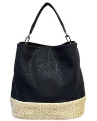 schwarze Shopper Tasche aus Stroh