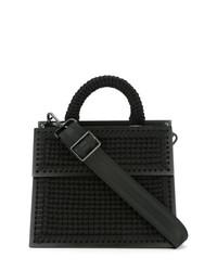 schwarze Shopper Tasche aus Stroh von 711