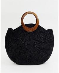 schwarze Shopper Tasche aus Stroh von Accessorize