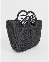 schwarze Shopper Tasche aus Stroh von Hat Attack