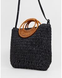 schwarze Shopper Tasche aus Stroh von New Look