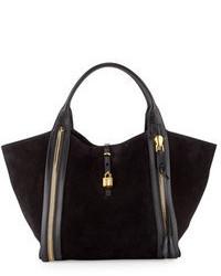 schwarze Shopper Tasche aus Wildleder