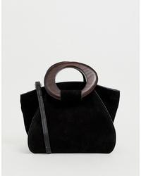schwarze Shopper Tasche aus Wildleder von Mango