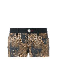 schwarze Shorts mit Leopardenmuster von Philipp Plein