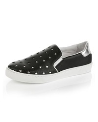 schwarze Slip-On Sneakers aus Leder mit Sternenmuster von Alba Moda
