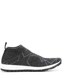 schwarze Slip-On Sneakers aus Leder mit Sternenmuster von Jimmy Choo