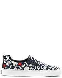 schwarze Slip-On Sneakers aus Leder mit Sternenmuster von MSGM