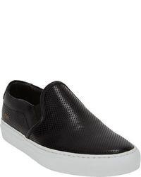 schwarze Slip-On Sneakers aus Leder