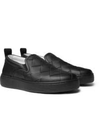 schwarze Slip-On Sneakers aus Leder von Bottega Veneta