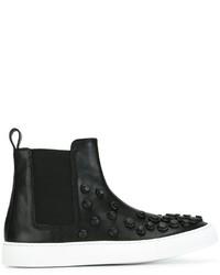 schwarze Slip-On Sneakers aus Leder von Dsquared2