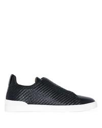 schwarze Slip-On Sneakers aus Leder von Ermenegildo Zegna