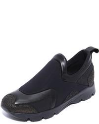 schwarze Slip-On Sneakers aus Leder von Maison Margiela