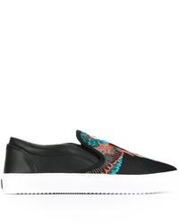 Schwarze Slip-On Sneakers aus Leder von Marcelo Burlon County of Milan